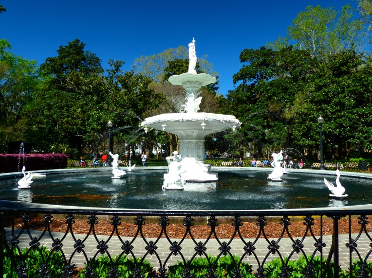 Forsyth Park Fountain, of which an exact replica resides in Cuzco, Peru.