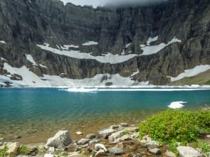 A few icebergs remain in Iceberg Lake.