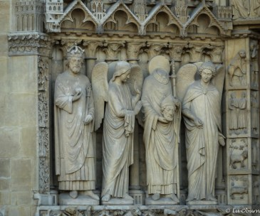 One of many wonderful sculptures telling a Biblical story at Notre Dame
