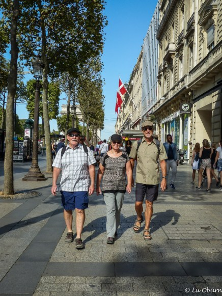 Frank, Margee & Terry strolling the Champs-Elysées