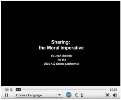 """Sharing: The Moral Imparative ~ by Dean Shareski ~ CC = BY::NC::SA"""