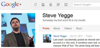 """Steve Yegge and Google+"""