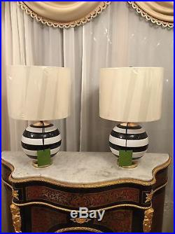 Kate Spade Pair Of Globe Black  White Stripped Table