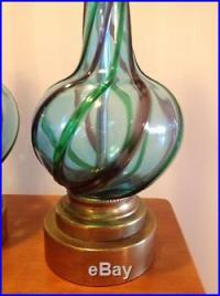 Pair of Murano Glass Table Lamps Blue Purple Green Mid ...