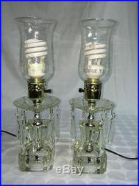 Vintage Pair Of Etched Hurricane Lamps Lamp Crystal Glass