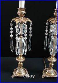 Vintage Pair French Brass Crystal Candlestick Vanity ...