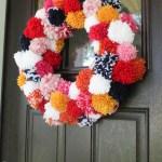 The Easiest Pom Pom Wreath Diy Boho Christmas Decor Paisley Sparrow