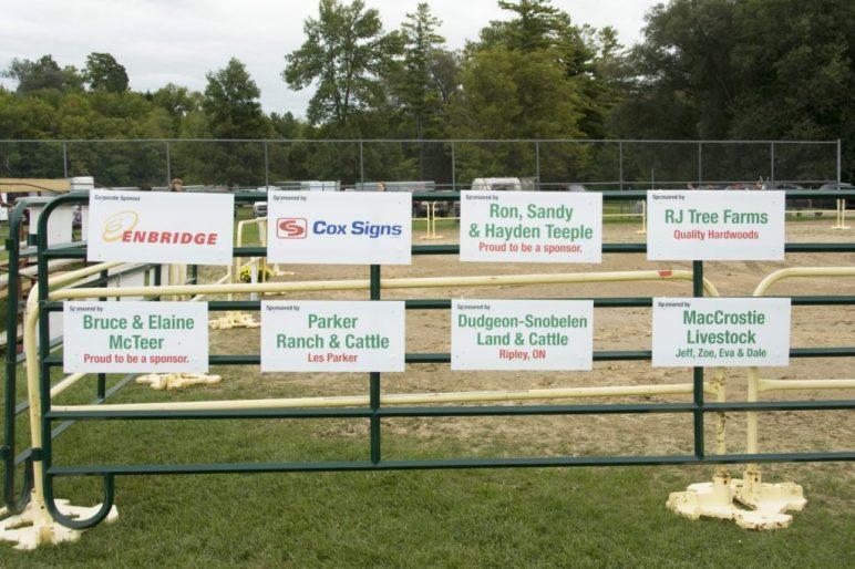 sponsor gate signs at Paisley fall fair