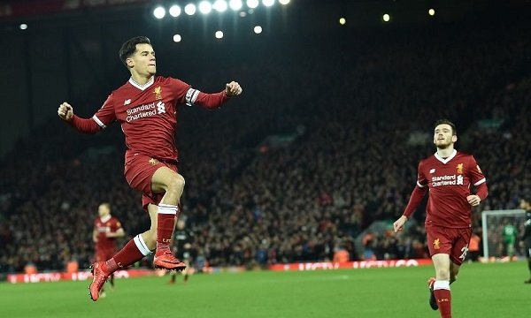 Coutinho celebrating Liverpool goal