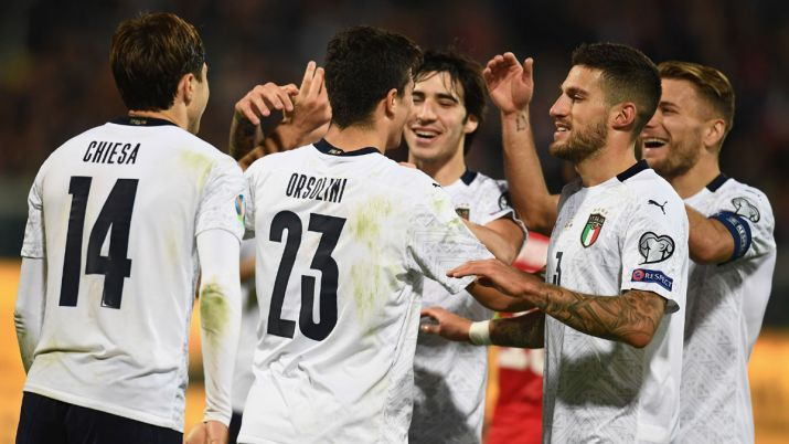 Cheisa with Italy team vs Armenia