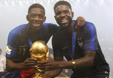Ousmane Dembele and Umtiti of France with World Cup trophy