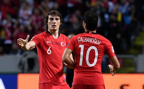 Caglar Soyuncu playing for Turkey