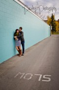 17th Ave engament photos Calgary - Cochrane Wedding photographer - Brick Wall Engagement