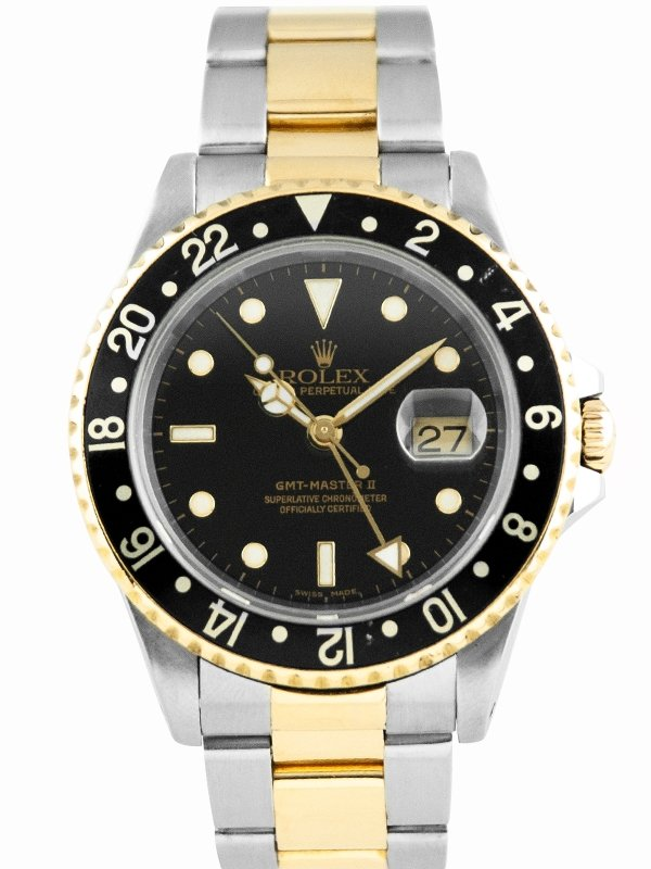 Pajak Rolex GMT-Master-II-Steel-Yellow-Gold-Black-Dial-16713-Box-Cert-2018 RM38,000
