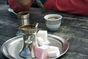 Bosniak coffee, strong with a sweet sweet candy