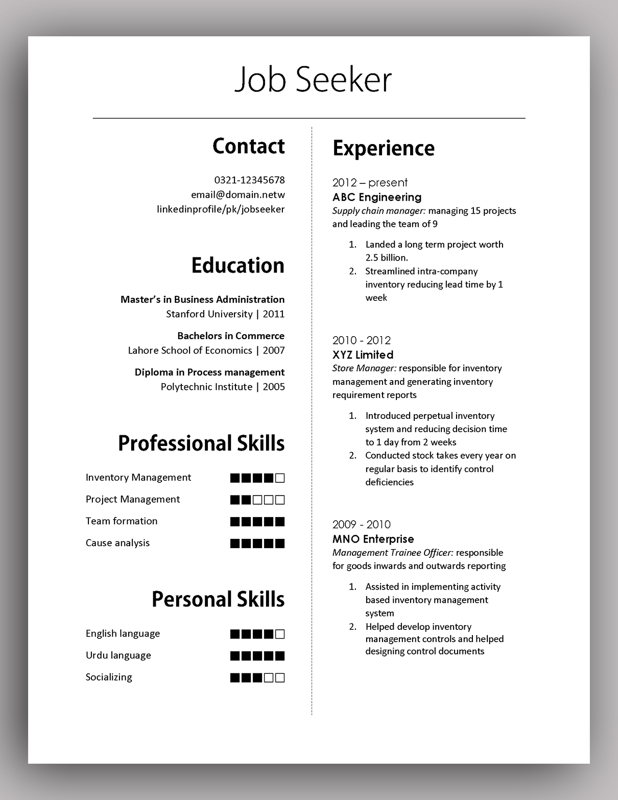 Cv Template South Africa Resumes Simple Yet Elegant Cv Template To Get The Job Done Free