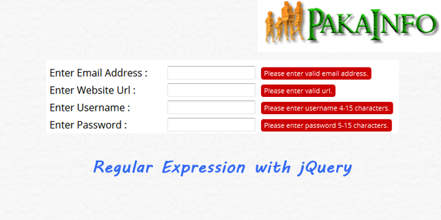 jQuery Regular Expression Real Time Form Validation Example - Pakainfo