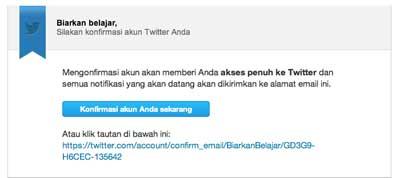 konfirmasi pendaftaran akun twitter melalui email