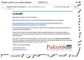 Klik link di email untuk konfirmasi pendaftaran LinkedIn