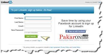 Mengisi data untuk membuat akun linkedin