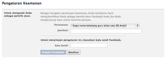 mengatur pertanyaan keamanan akun facebook