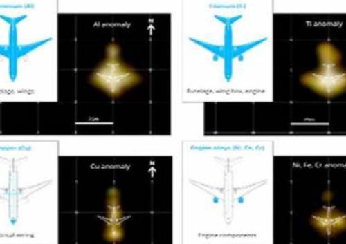 Imej menunjukkan elemen kimia menyamai Boeing 777 dikesan berhampiran Telik Benggal oleh syarikat pencari GeoResonance