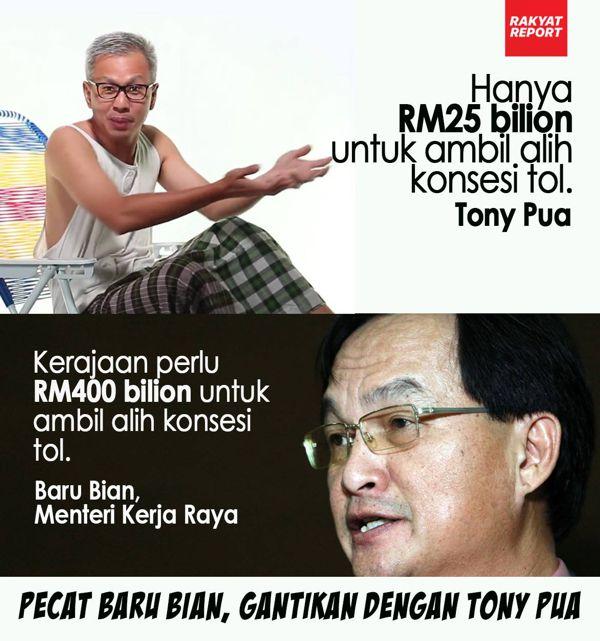 Mansuh Tol: Tony Pua kata pampasan RM25bilion, Baru Bian pula RM400bilion