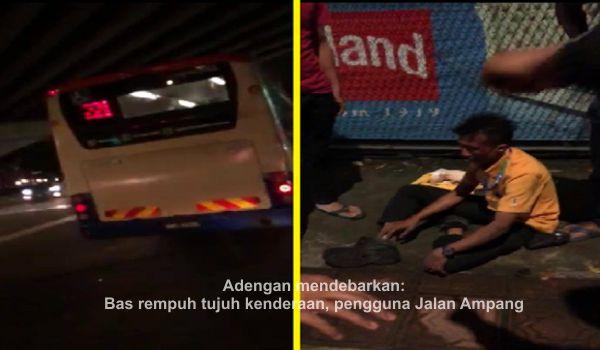 Adengan mendebarkan: Bas rempuh tujuh kenderaan, pengguna Jalan Ampang