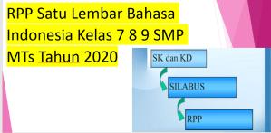 RPP Satu Lembar Bahasa Indonesia Kelas 7 8 9 SMP MTs Tahun 2020