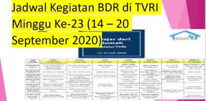 Jadwal Kegiatan BDR di TVRI Minggu Ke-23 (14 – 20 September 2020)