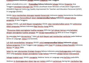 Promosi Bahasa Indonesia Sebagai Bahasa Pengantar Asia Tenggara