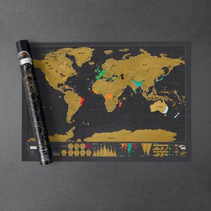 Skrapkarta världen original deluxe Scratch map original deluxe present