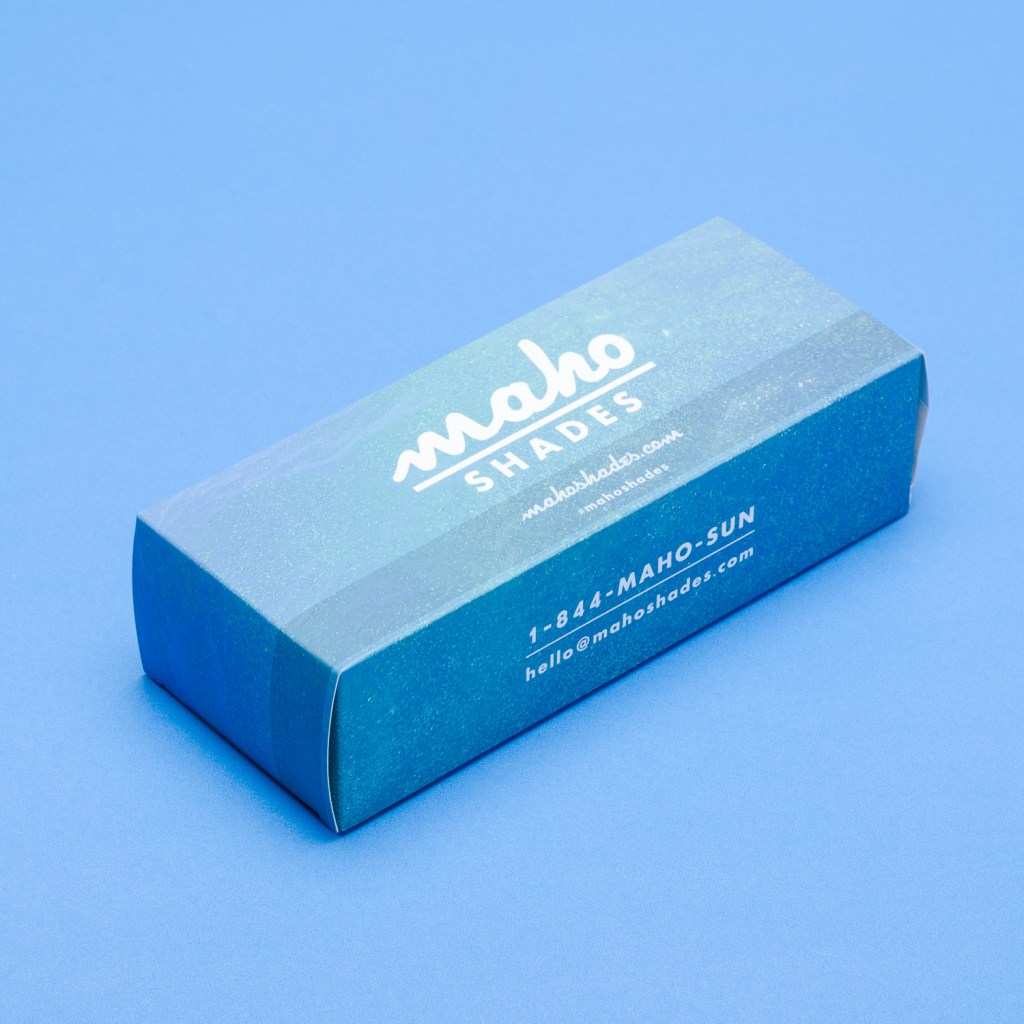 A blue custom box with matte lamination.