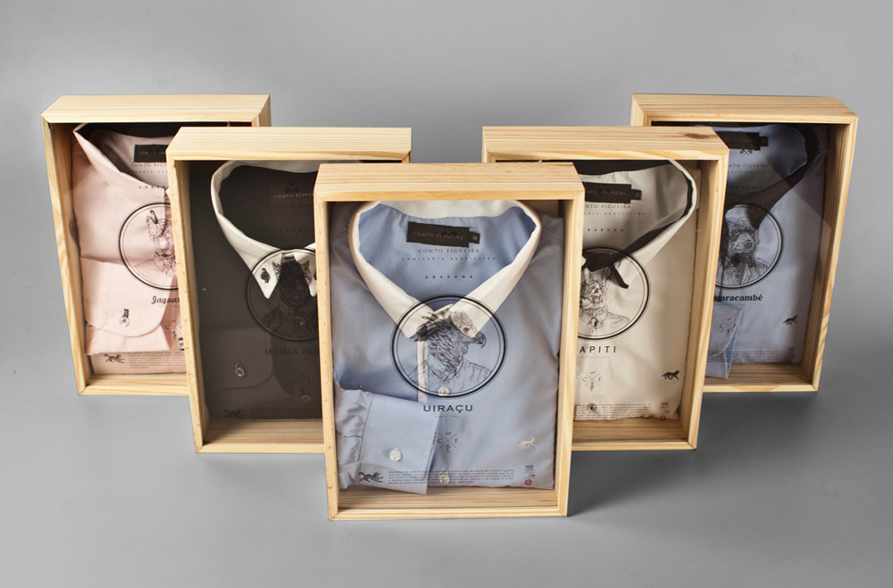 Custom wooden boxes for mens bespoke shirts.