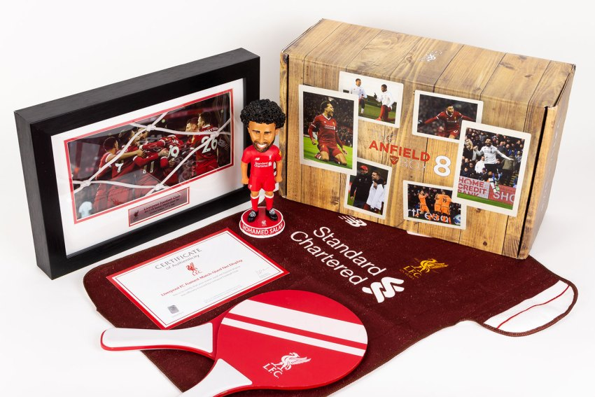 The unboxed Anfield custom subscription box.