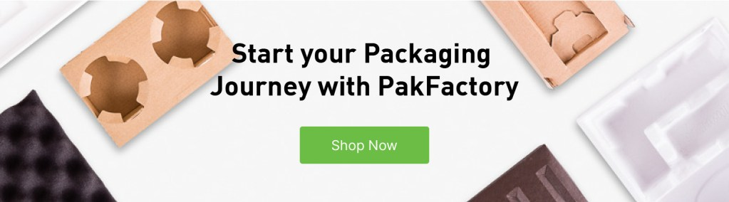 "Shop now button titled: ""Start your Packaging Journey with PakFactory."""
