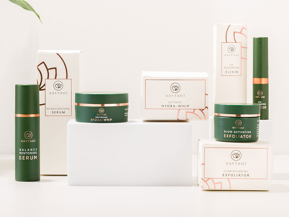 A photo collage of aavrani cosmetic packaging
