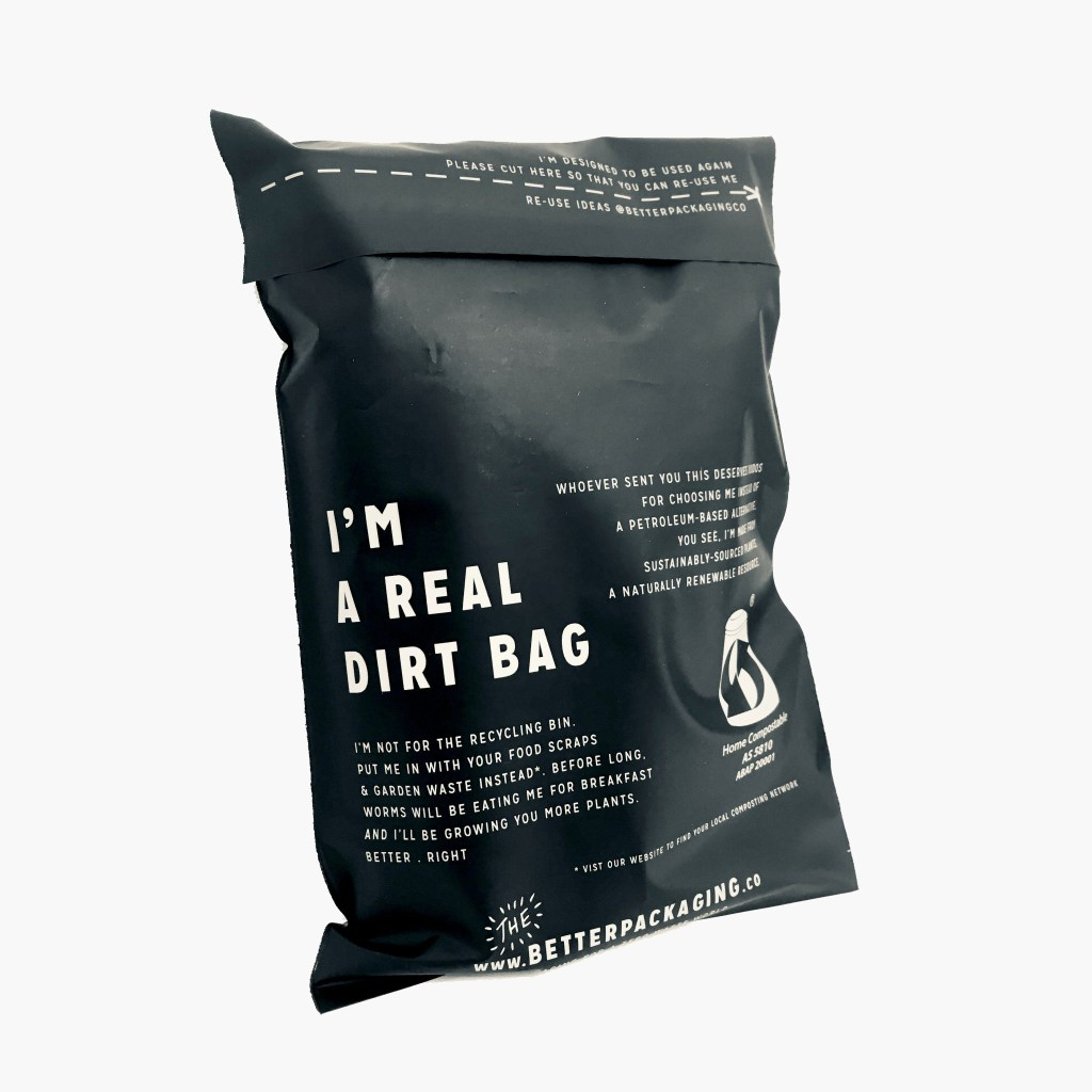 biodegradable bag with printed brand messages