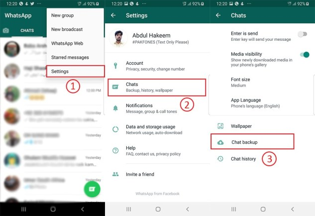 How to make chat backup on Whatsapp