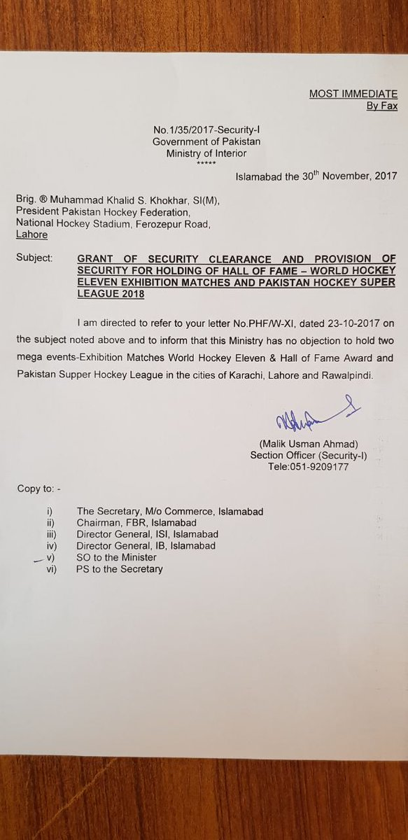 PHF president Khalid Khokhar, when contacted, confirmed that the interior ministry had issued written NOC for t