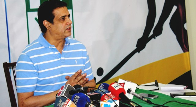 NEWLY-appointed PHF secretary Asif Bajwa addresses the news conference on Monday