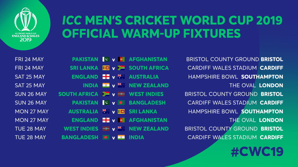 ICC Cricket World Cup 2019 Warm-Up Matches Channels