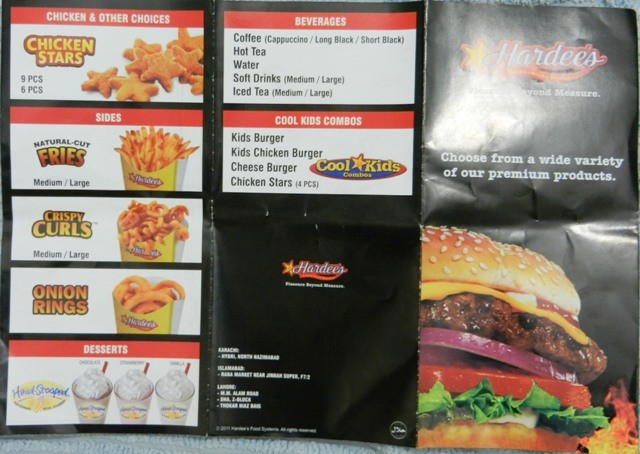 Hardees Restaurant In North Nazimabad Karachi Menu
