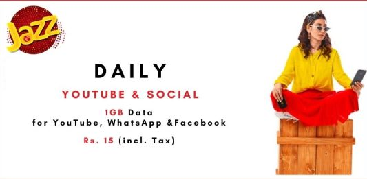 Jazz daily YouTube and Social Package: Get 1GB Data in Rs. 15 for 24 Hrs