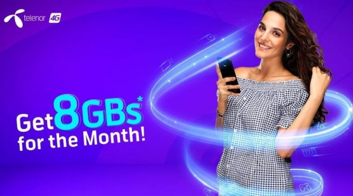 Telenor 4G Monthly Starter Bundle-8GB Data in Rs. 300 with 30 Days Availability