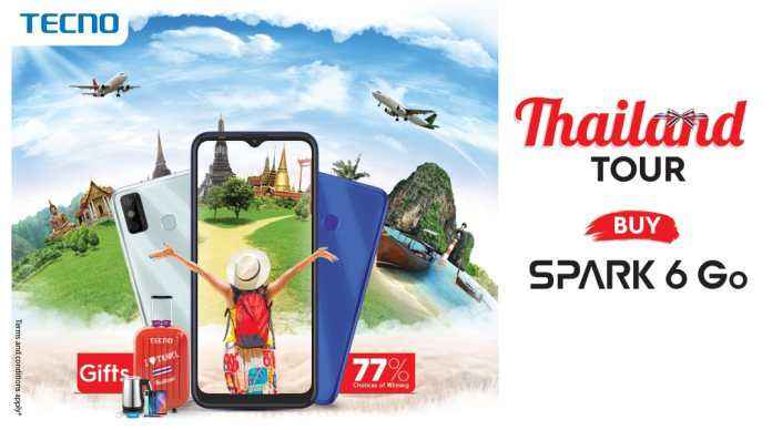 TECNO offers a Thailand Tour on every Spark 6 Go purchase!