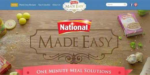 National food made easy website screenshot
