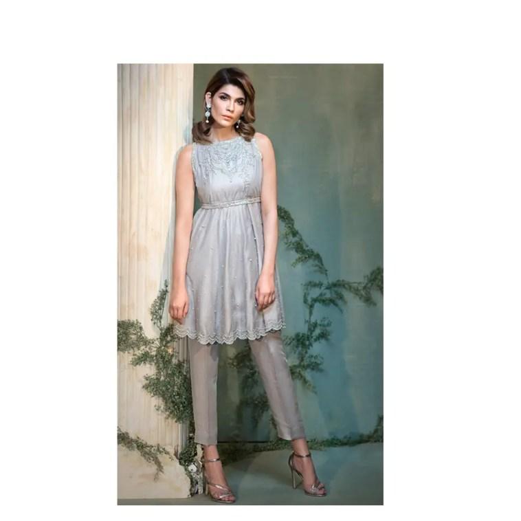 2 Piece Silver Net Pakistani Ready To Wear Pret Dress Online Native
