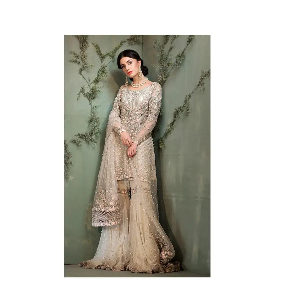 Beautiful Green Formal Wear Silk Net Pakistani Ready To Wear Pret