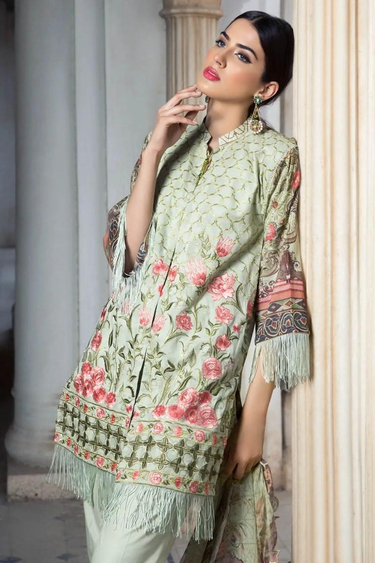 Beautiful Light Green Pakistani Embroidery Dress By Warda Saleem - Online Shopping In Pakistan